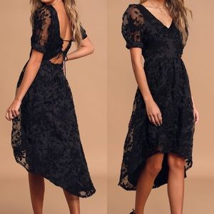 Lulus Black Floral Embroidered High-Low Midi Dress